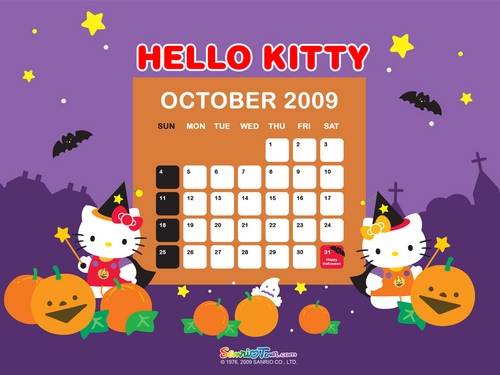 Hello Kitty October Halloween kertas dinding