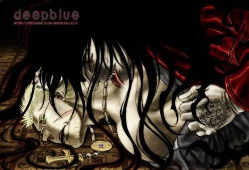 Yaoi wallpaper possibly with anime titled Hellsing - AlucardxAnderson