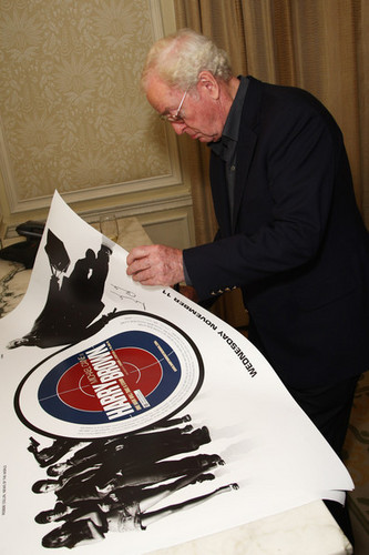 Michael Caine Autographing Harry Brown Posters