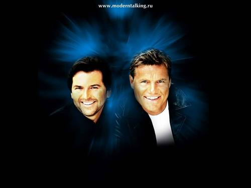 Modern Talking achtergrond with a business suit entitled Modern Talking