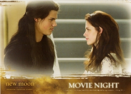 Taylor/Jacob Fan Girls wallpaper containing a portrait entitled New Moon Trading Cards