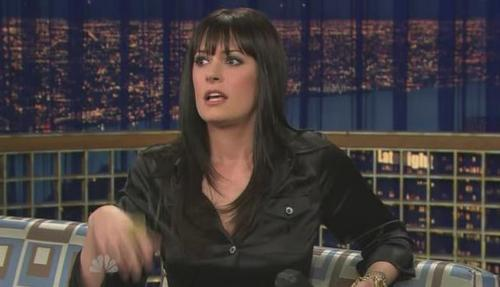 Paget Brewster wallpaper containing a reading room entitled Paget@Conan Late Night Show