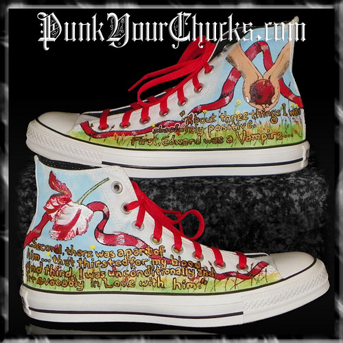 Twilight Converse Sneakers painted door www.punkyourchucks.com artist MAG
