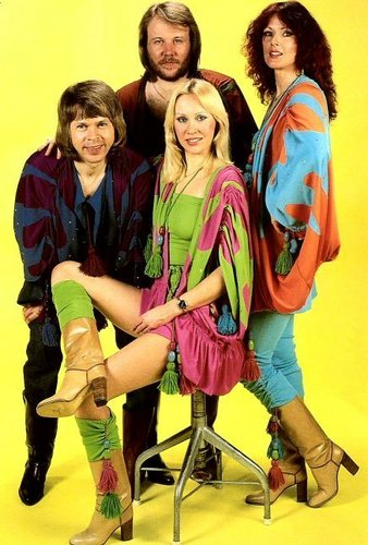 ABBA wallpaper possibly with a hip boot titled ABBA
