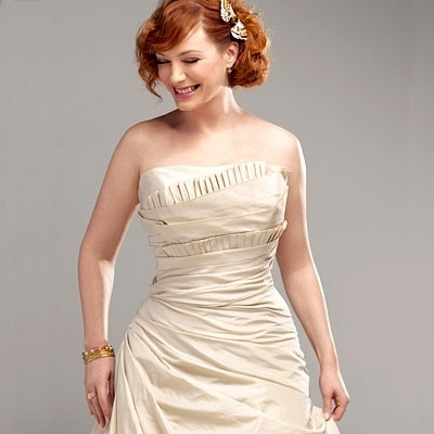 Christina Hendricks wallpaper with a gown, a dinner dress, and a strapless entitled Christina Hendricks | InStyle Weddings