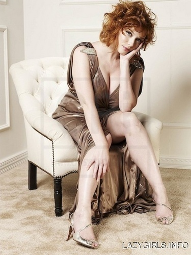 Christina Hendricks wallpaper possibly containing bare legs, a couch, and a living room entitled Christina Hendricks | Unknown Photoshoot