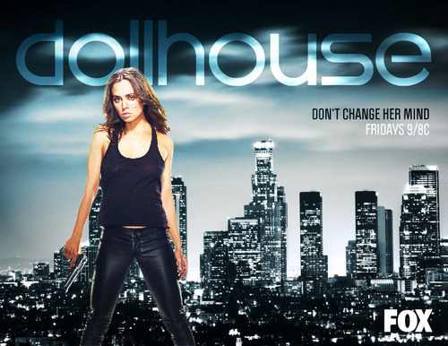 Dollhouse Hintergrund with a well dressed person called Echo Poster