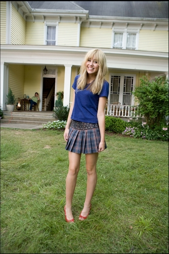 Miley Cyrus wallpaper possibly with bare legs, hot pants, and a skirt titled Hannah Montana The Movie: Behind The Scenes