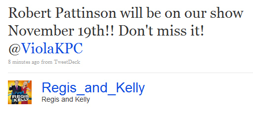Rob will be on Regis and Kelly on November 19