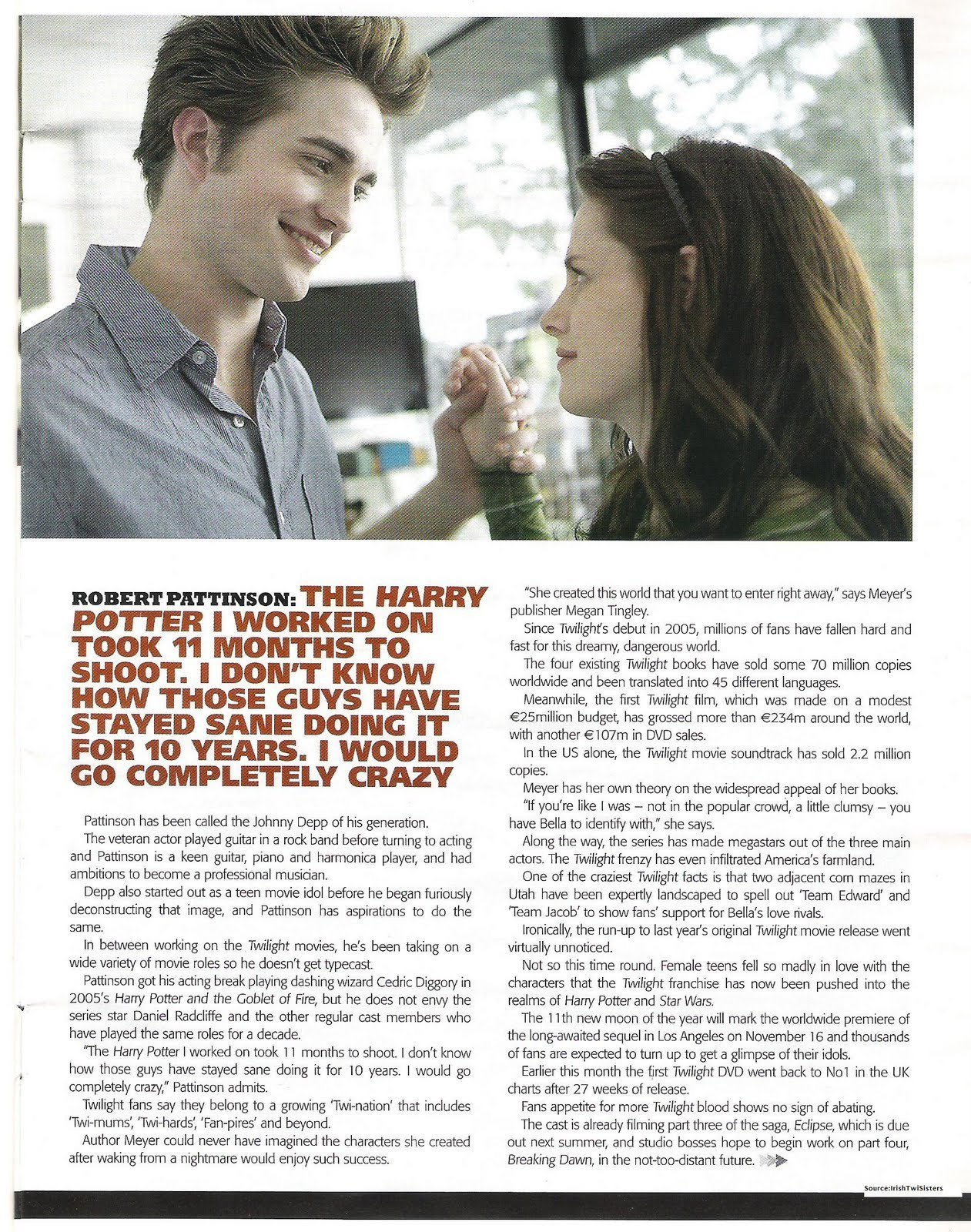 Robert Pattinson and New Moon in The Irish Daily 星, つ星 Sunday