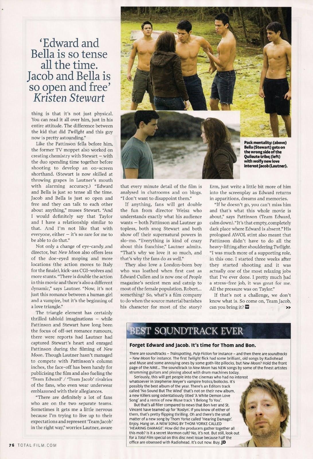 Robert Pattinson and New Moon in Total Film Magazine – UK – December 2009
