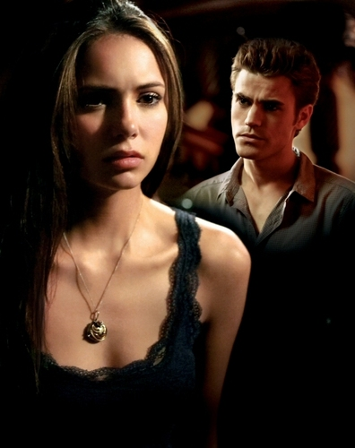 Stefan & Elena wallpaper containing a portrait titled Stefan & Elena Poster