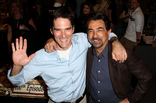 Thomas and Joe celebrating 100th Episode of Criminal Minds