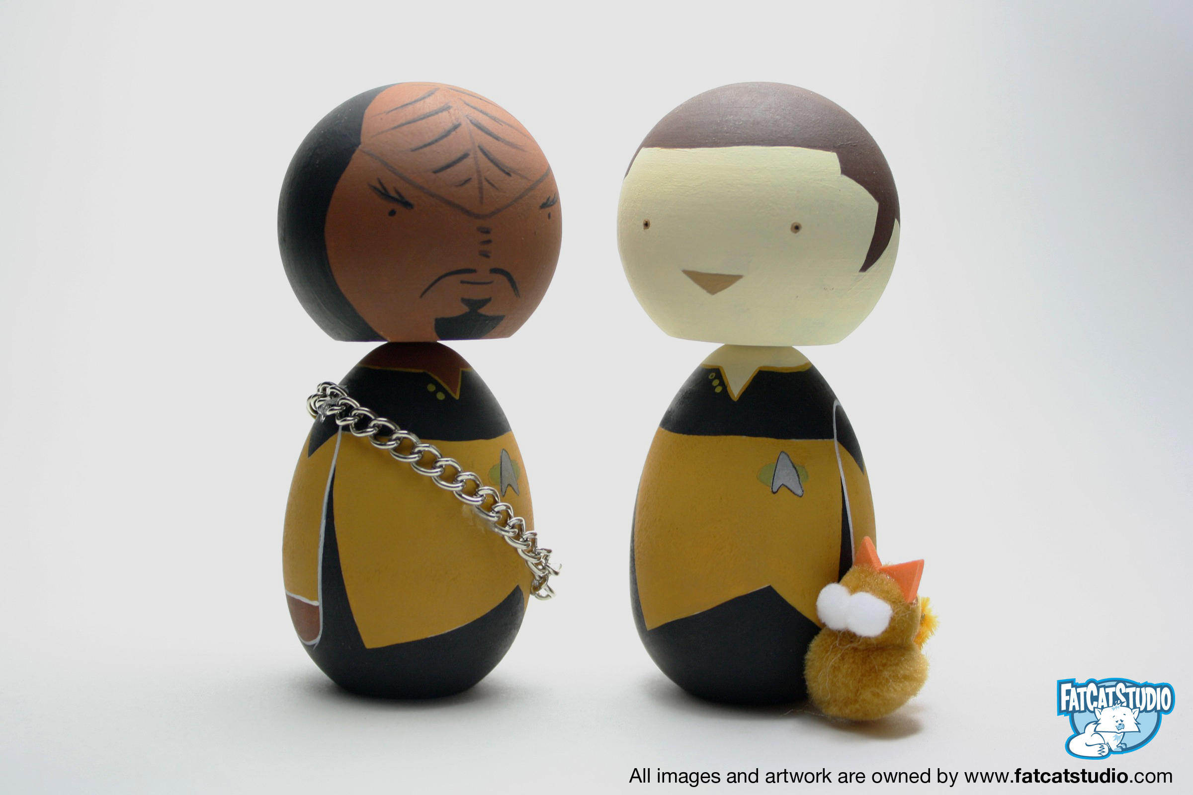 Worf and Data with Spot the Cat custom painted Lil Fatty
