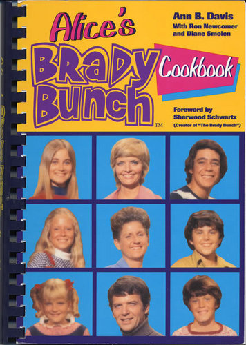 The Brady Bunch wallpaper probably containing a slot, a slot machine, and a stained glass window titled Alice's Brady Bunch Cook Book