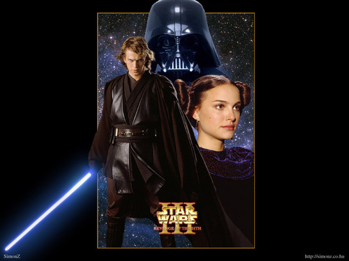 Anakin and Padme 壁纸 possibly containing a sign called Anakin & Padmé 壁纸