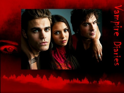 The Vampire Diaries wallpaper possibly with a sign and a portrait entitled Elena, Stefan & Damon