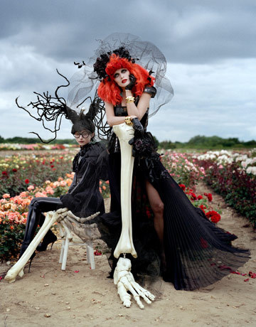 Tim Burton wallpaper probably with a bouquet titled Harpers Bazaar Photoshoot Styled by Tim Burton