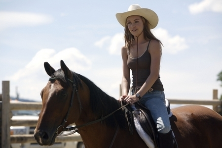 Heartland wallpaper with a horse wrangler, a snap brim hat, and a horse trail titled Heartland