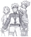 Naruto, Sakura, and Какаси