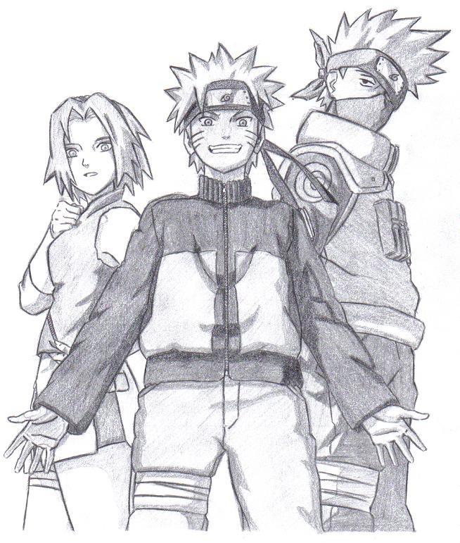 Naruto, Sakura, and Kakashi