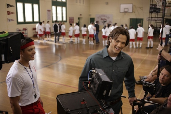 On set with Jared and Jensen