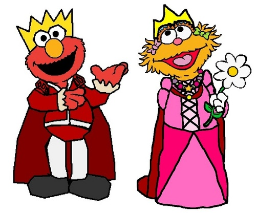 Sesame Street wallpaper possibly containing anime entitled Prince Elmo and Princess Zoe