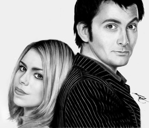 The Doctor and Rose wallpaper containing a portrait called The Doctor and Rose Drawing