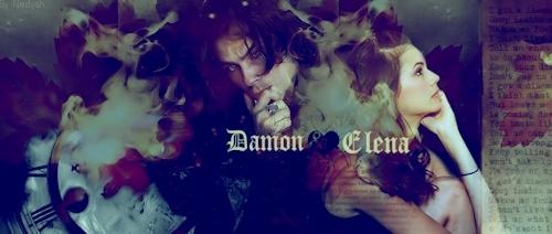 Damon & Elena wallpaper probably with Anime titled delena