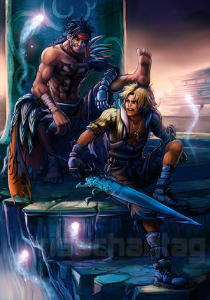 Final Fantasy X wallpaper with anime titled father and son