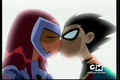 robin and star fire- kiss - teen-titans-couples photo