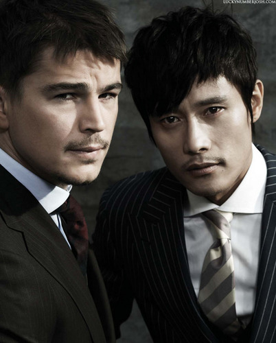 Josh Hartnett achtergrond containing a business suit, a suit, and a single breasted suit called Cho Sun Hi (Korea Vogue Nov 09)