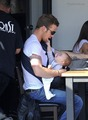 Cam Gigandet with daughter Everleigh Ray and his wife at Toast  - twilight-series photo
