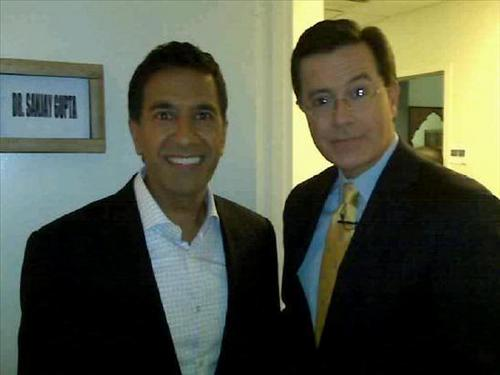 Stephen Colbert wallpaper probably containing a business suit entitled Colbert and Gupta Backstage