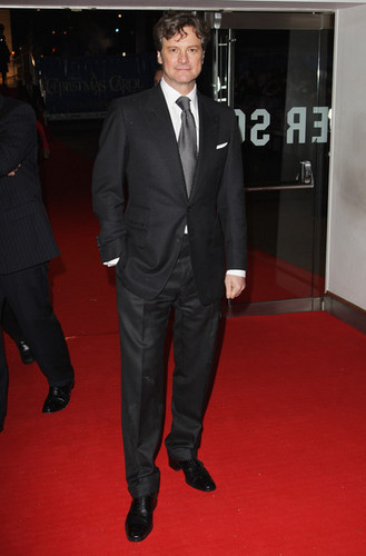 Colin Firth arriving at A pasko Carol premiere in London