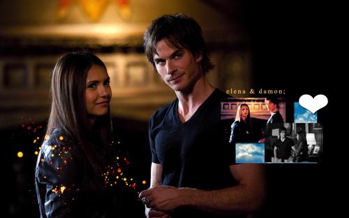 Damon & Elena kertas dinding entitled Delena