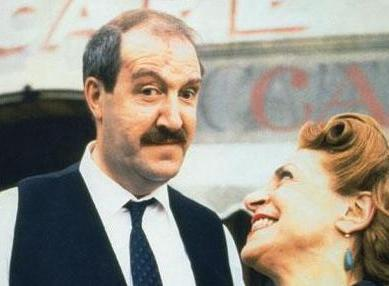 'Allo 'Allo! - BBC sitcom wallpaper with a business suit, a judge advocate, and a portrait titled René and Edith Artois
