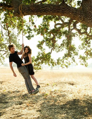 Twilight Series wallpaper probably containing a swing and a live oak called Robert Pattinson and Kristen Stewart - Vanity Fair photoshoot
