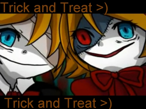 Rin und Len Kagamine Hintergrund containing Anime called Trick and Treat Len and Rin