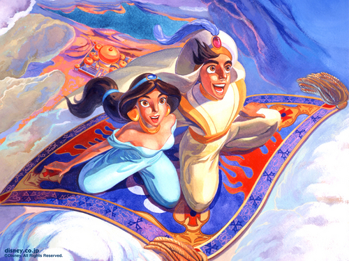 Aladdin wallpaper probably containing anime called Aladdin & Jasmine