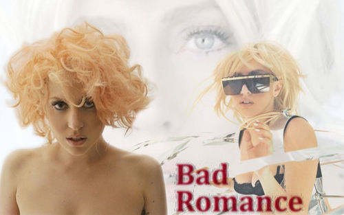 Lady Gaga achtergrond possibly with sunglasses and a portrait titled Bad Romance achtergrond