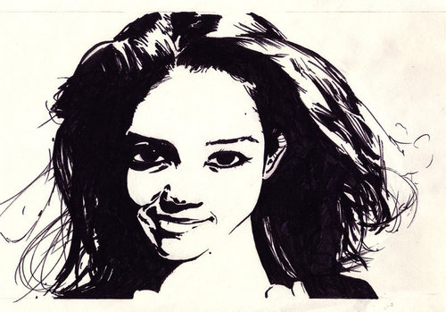 Black and White Drawing of Katie Holmes a la Joey Potter