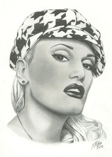 Gwen Stefani Black and White Portrait