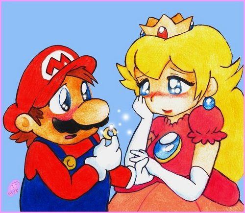 Mario and Peach wallpaper containing anime entitled I Will Buy You A Diamond Ring