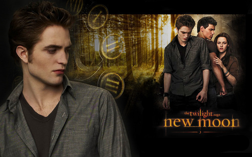 Robert Pattinson kertas dinding with a business suit, a well dressed person, and a sign titled New mOOn WaLLpaPer