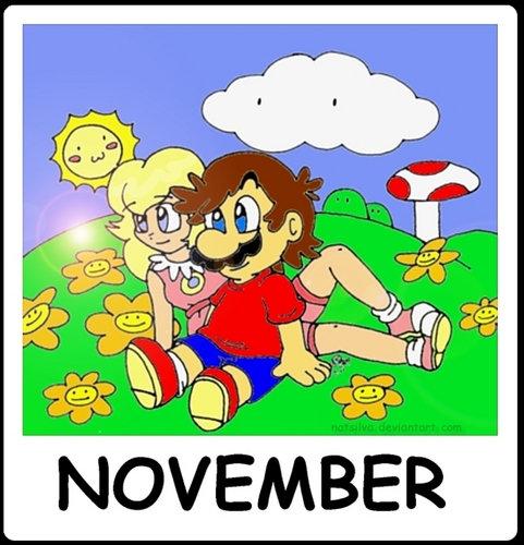 Mario and pêche, pêche, peach fond d'écran containing animé called November Calendar