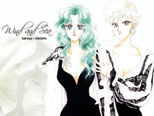 Sailor Uranus and Sailor Neptune karatasi la kupamba ukuta possibly containing a portrait titled RukaMichi