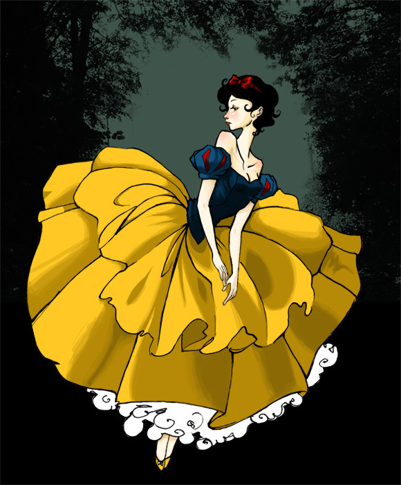 Snow White Suspended in Front of a Forest Background