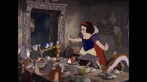 Snow White and the Seven Dwarfs achtergrond titled Snow White Talks to the Animals in the Dwarfs' Cottage
