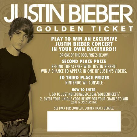 Golden ticket in album MY WORLD
